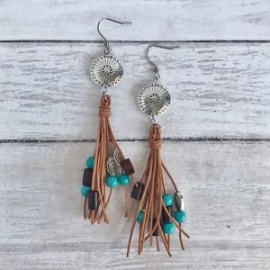 Hand Crafted Leather Tassel Earrings